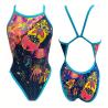 Bañador de natación Turbo Huichol azul amarillo rosa mujer