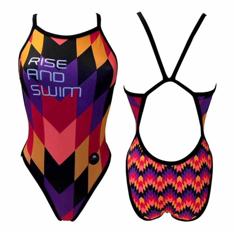 Bañador de natación Turbo Rise and Swim lila rojo amarillo mujer