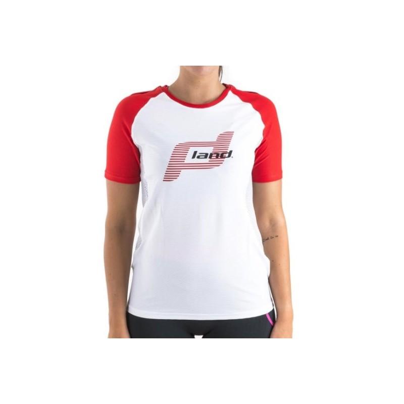 Camiseta Land M/Corta Trail Mujer - Elegance (blanco-rojo)